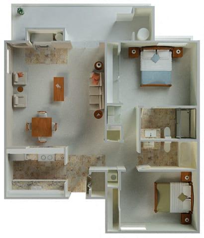 Floor Plan  Palamino interior 2x2 1030 sqft  floor plan