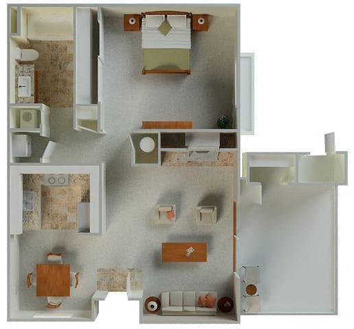 Floor Plan  Polo 1x1 738 sqft Floor plan