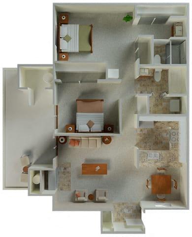 Floor Plan  Preakness 2x2 964 sqft floor plan