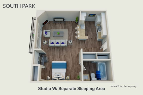 Floor Plan  Studio With Separate Sleeping Area