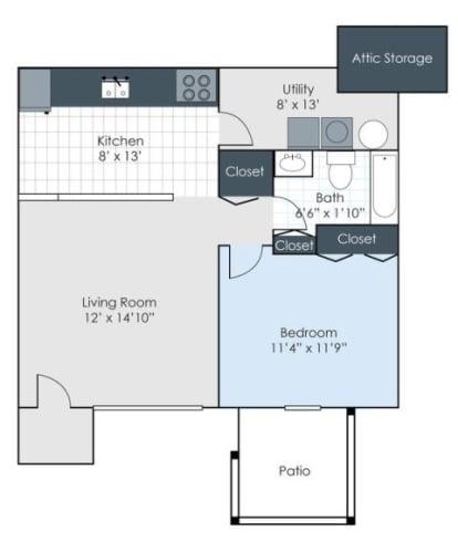 Floor Plan  1 bedroom floorplan image