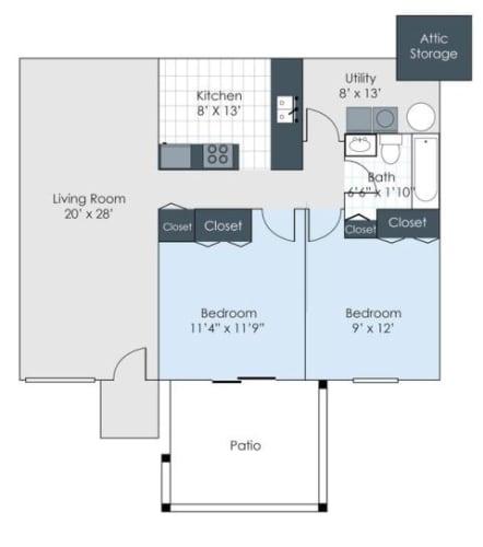 Floor Plan  Two bedroom floorplan image