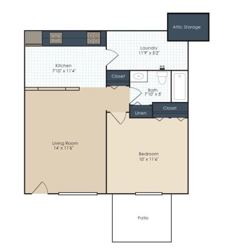 Floor Plan  One bedroom, one bathroom two dimensional floor plan.