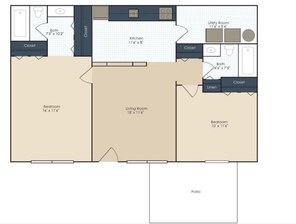Floor Plan  Two bedroom, two bathroom two dimensional floor plan.