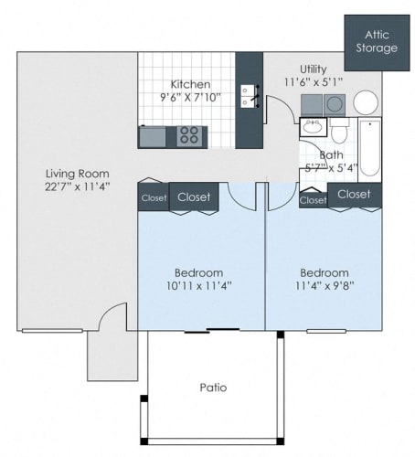 Floor Plan  Two bedroom floorplan layout