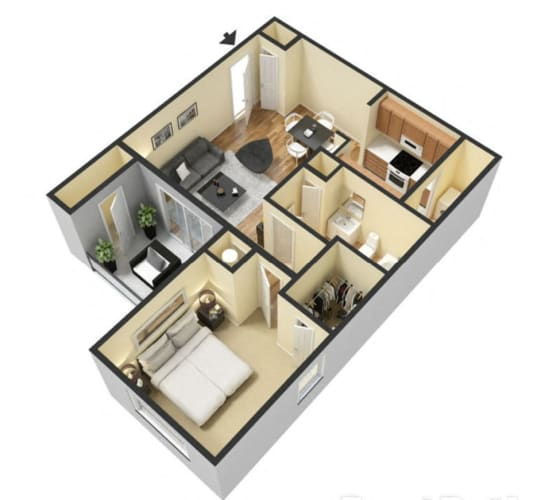 Floor Plan  1 Bedroom 1 Bath Floor Plan at Ascent Citrus Park, Tampa, FL, 33615