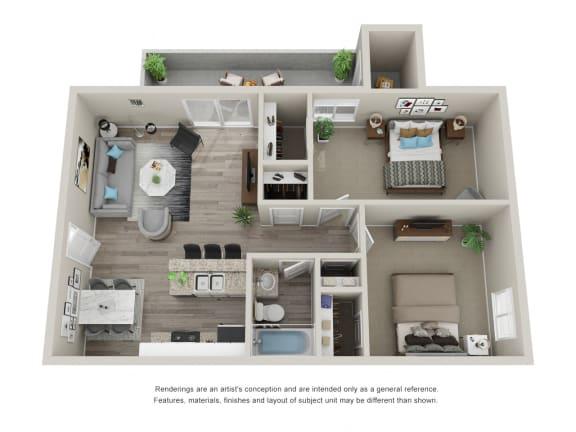 Floor Plan  2 Bedroom 1 Bathroom 3D Floor Plan