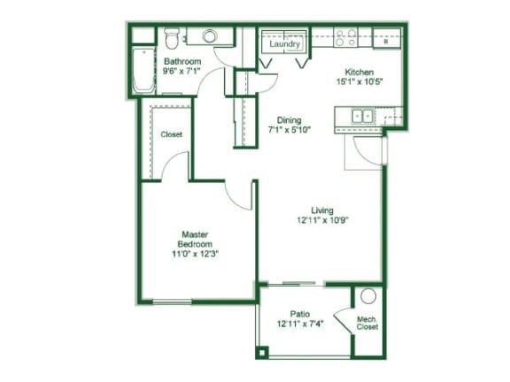 Floor Plan  1 Bedroom 1 Bath floor plan, 841 square feet