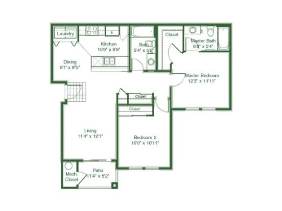 Floor Plan  2 Bedroom 2 Bath floor plan, 1,016 square feet
