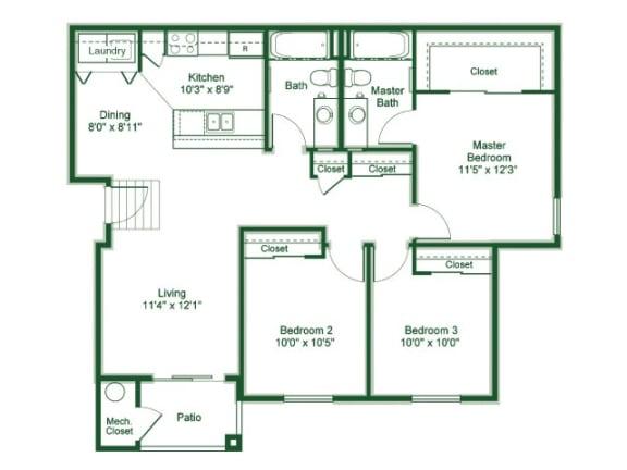 Floor Plan  3 Bedroom 2 Bath floor plan, 1,181 square feet