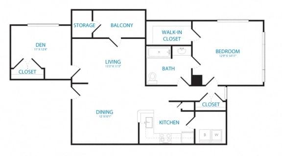 Floor Plan  1 bedroom den