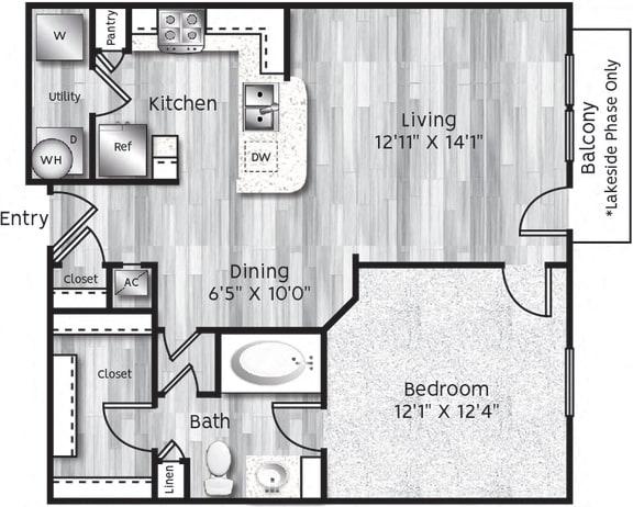Floor Plan  One bedroom, one bathroom, Kitchen, Living room dining room, Walk in closet, coat closet, laundry room, and HVAC room.