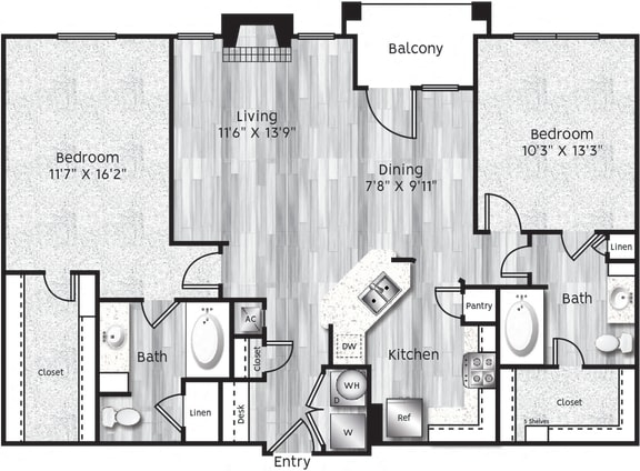Floor Plan  Two bedroom, two bath, kitchen, pantry, coat closet, living/dining room, two walk in closets, linen closet and laundry room. B3 floor plan.