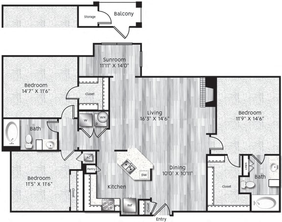 Floor Plan  Three bedroom, two bathroom, Kitchen, dining room, living room, laundry room, patio with storage, 3 walk in closets. C1-LL floor plan, 1436 square feet.
