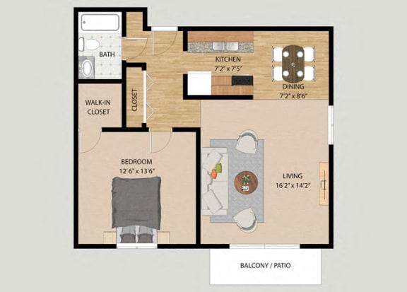 Floor Plan  One Bedroom One Bathroom Floor Plan at Westmore