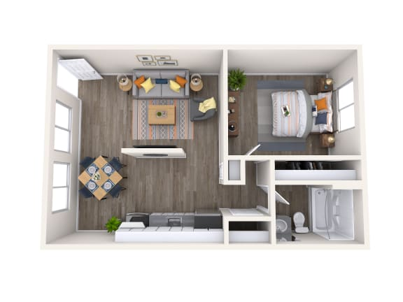 Floor Plan  1x1-Floorplan Melrose
