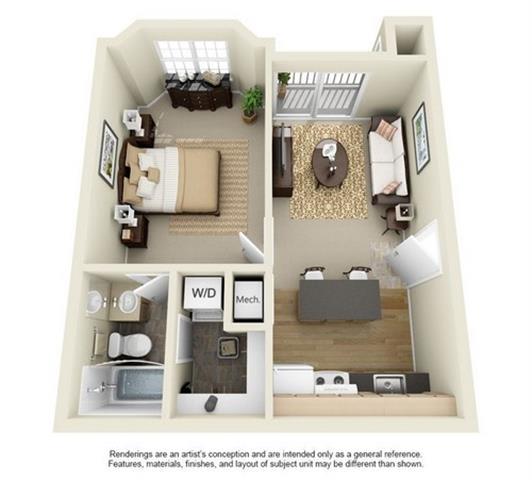 Floor Plan  1 Bed 1 Bath Floor Plan at Enclave at Lake Underhill, Orlando, Florida