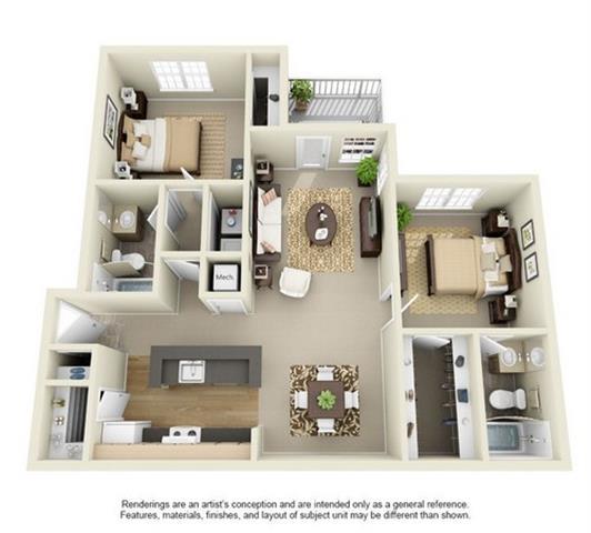 Floor Plan  2 Bed 2 Bath Floor Plan at Enclave at Lake Underhill, Orlando