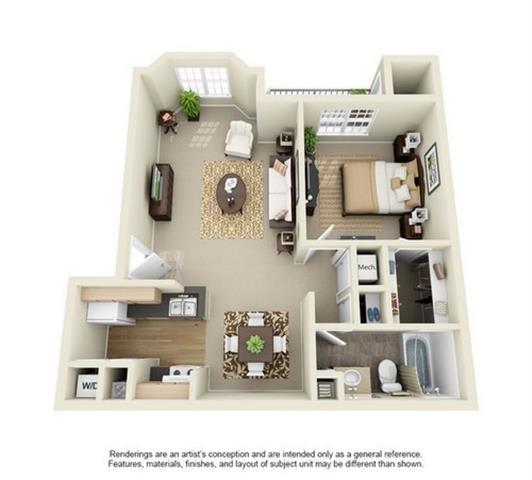 Floor Plan  1 Bedroom 1 Bathroom Floor Plan at Enclave at Lake Underhill, Florida, 32803