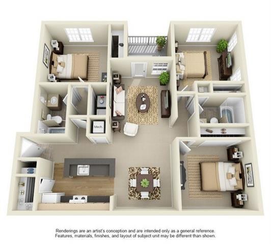 Floor Plan  3 Bed, 2 Bath Floor Plan at Enclave at Lake Underhill, Florida