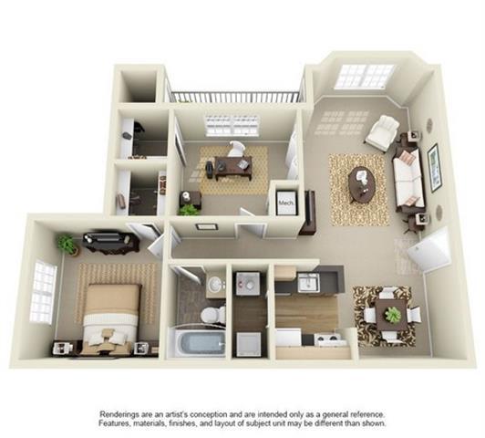 Floor Plan  1 Bedroom 1 Bath Floor Plan at Enclave at Lake Underhill, Orlando, FL, 32803