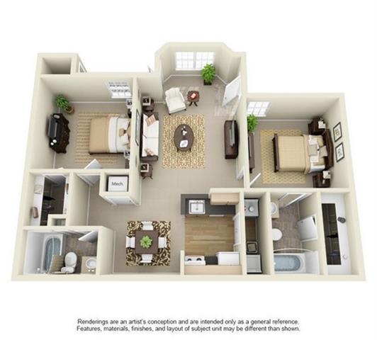 Floor Plan  2 Bedroom 2 Bathroom Floor Plan at Enclave at Lake Underhill, Orlando, FL