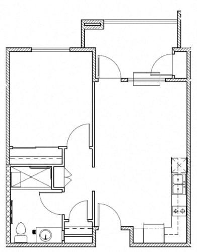 Floor Plan  Huntington One Bedroom One Bath l 95037 Rentals