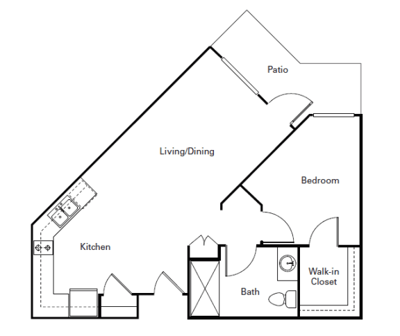 Floor Plan  Huntington One Bedroom One Bath l Senior Rentals