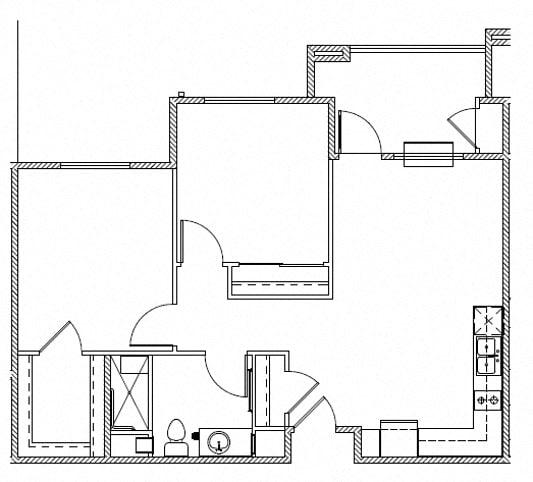 Floor Plan  Huntington Two Bedroom One Bath l Rentals in Morgan Hill, CA