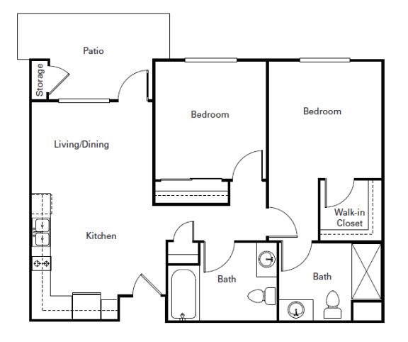 Floor Plan  Huntington Two Bedroom One Bath l Morgan Hill Senior Apartments
