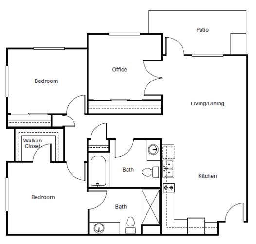 Floor Plan  Huntington Three Bedroom Apartment  l 95037 Senior Rentals