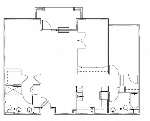 Floor Plan  The Huntington Three Bedroom Rentals l 95037 Senior Apts