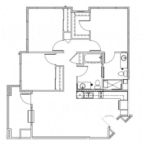 Floor Plan  Three Bedroom Apartments  l The Huntington Apartments