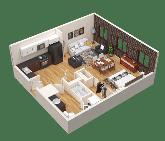 Floor Plan  Portland, OR Crane Flats and Lofts  loft