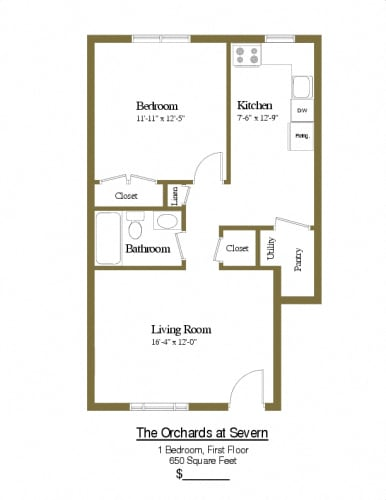 Floor Plan  1 bedroom 1 bathroom first floor townhome at Orchards at Severn
