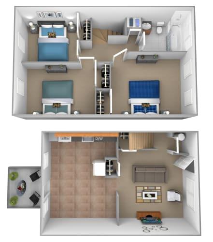 Floor Plan  3 Bedroom 1 Bath