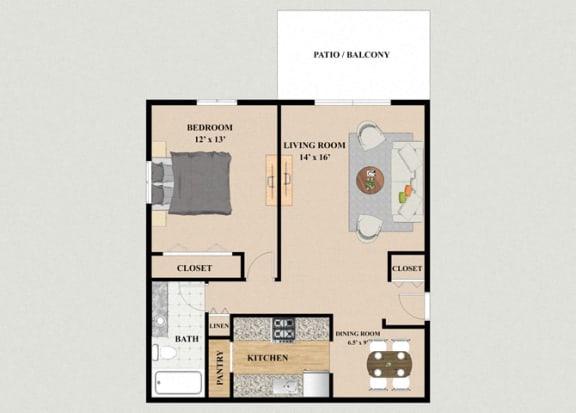 Floor Plan  One Bedroom One Bathroom Floor Plan at Mission Hills