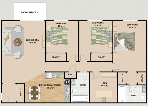 Floor Plan  Amethyst 3 Bedroom 2 Bathroom Floor Plan at River Place