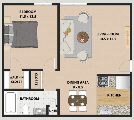 Floor Plan  Maple 1 Bedroom 1 Bathroom Floor Plan at The Meadows