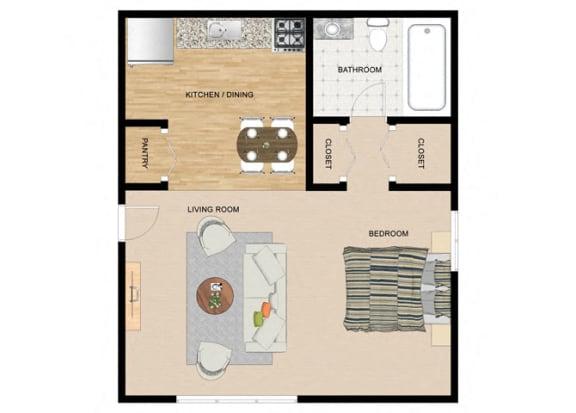 Floor Plan  Canoe Studio 1 Bathroom Floor Plan at The Birches Apartments, Joliet, 60435