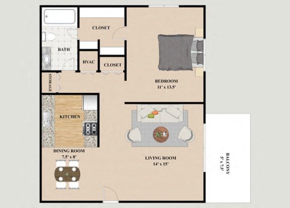 Floor Plan  Geneva 1 Bedroom 1 Bathroom Floor Plan at Chateau Knoll