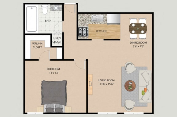 Floor Plan  One Bedroom One Bathroom Plan 1A Floor Plan at Park Village