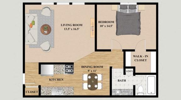 Floor Plan  One Bedroom One Bathroom Floor Plan at Kensington Pointe