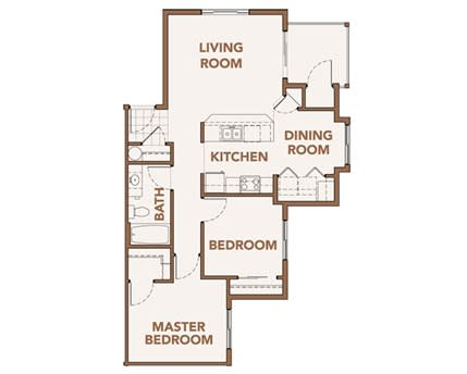 Floor Plan  Two Bedroom Apts Spokane WA 99224 l Copper River Apartments For Rent
