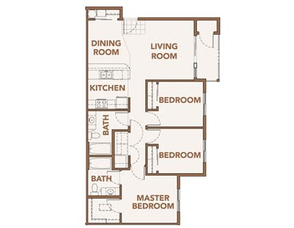 Floor Plan  Three Bedroom Floor Plans Spokane WA 99224 l Copper River Apartments For Rent