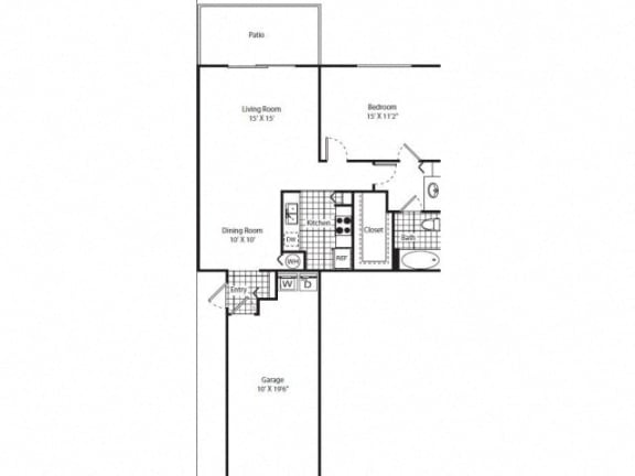 Floor Plan  One Bedroom One Bathroom Floor Plan  Patio Attached Garage  Miramar Florida