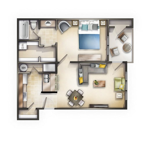 Floor Plan  One Bedroom at Mandalay on 4th Apartments, Florida