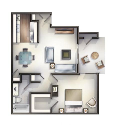 Floor Plan  1 bedroom one bathroom   Rollingwood Commons Fair Oaks, Sacramento, CA