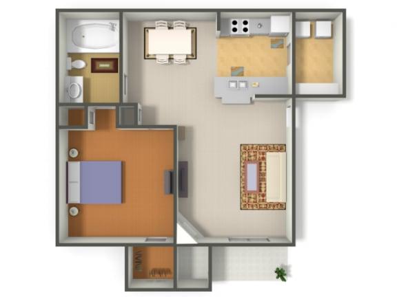 Floor Plan  One Bedroom One Bathroom Floor Plan Las Vegas Henderson Nevada
