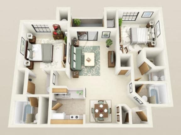 Floor Plan  Winthrop Mini Renovated1075sf FloorPlan at Sky Court Harbors at The Lakes Apartments, Nevada